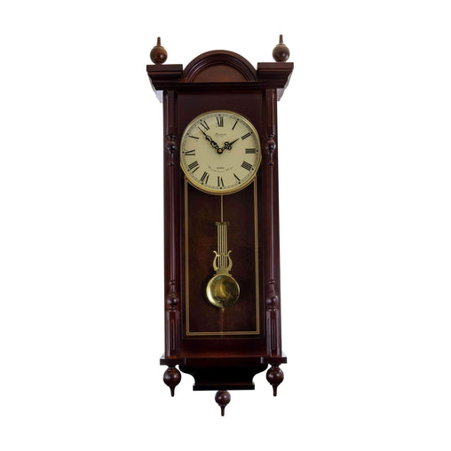 BedfordClockCollection Clocks Bedford Clock Collection Grand 31 Inch Chiming Pendulum Wall Clock in Antique Mahogany Cherry Finish