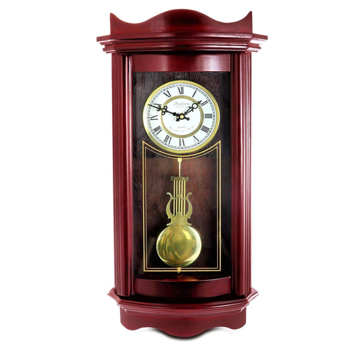 BedfordClockCollection Clocks Bedford Clock Collection Weathered Chocolate Cherry Wood 25 Inch Wall Clock with Pendulum