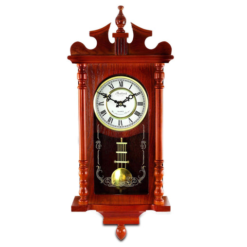 BedfordClockCollection Clocks Bedford Collection 25 Inch Wall Clock with Pendulum and Chime in Dark Redwood Oak Finish