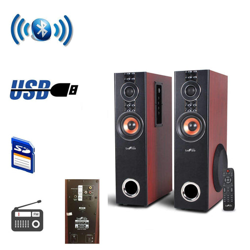 BefreeSound Home Stereo Systems beFree Sound 2.1 Channel Powered Bluetooth Dual Wood Tower Speakers with Optical Input - Reconditioned