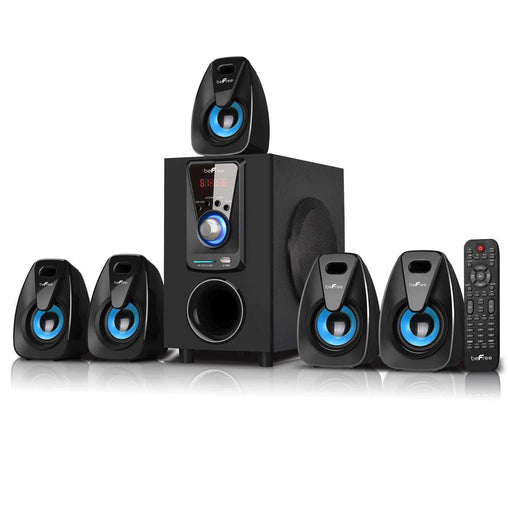 BefreeSound Home Stereo Systems beFree Sound 5.1 Channel Surround Sound Bluetooth Speaker System- Blue - Reconditioned