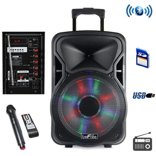 BefreeSound PA Systems beFree Sound 12 Inch Bluetooth Rechargeable Party Speaker With Illuminatiing Lights - Reconditioned