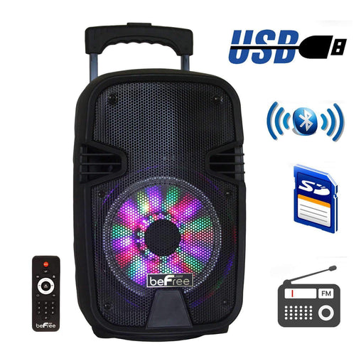 BefreeSound Speakers beFree Sound 8 Inch Bluetooth Portable Party Speaker with USB, SD and Reactive Lights - Reconditioned