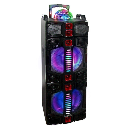BefreeSound Speakers beFree Sound Dual 12 Inch Subwoofer Portable Bluetooth Party Speaker with LED Lights, USB- SD Input, Rechargeable Battery, R