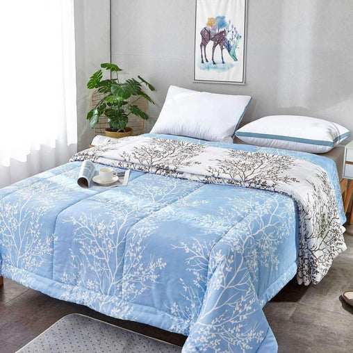 Bella Ultra Bedding & Bath Bella Ultra-Soft Blue Microfiber Tree Branch Printed Summer Comforter - Queen 87 x 90