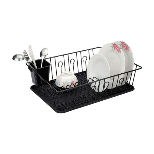 BetterChef Kitchen Gadgets Better Chef 22 Inch Chrome Dish Rack with Black Draining Tray