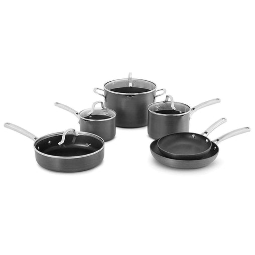 Calphalon Kitchen Calphalon Classic Pots and Pans Set, 10-Piece Nonstick Cookware Set, Grey