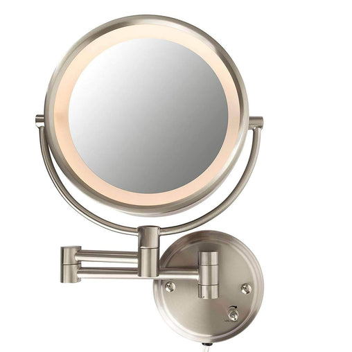 Conair Health and Beauty Conair Lighted 7X Brushed Nickel Wall Mount Fluorescent Hotel Makeup Mirror