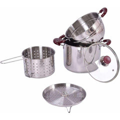 Cooper and Co Kitchen Stainless Steel Stock Pot 7-Quart 5 pc Pasta Cooker Set