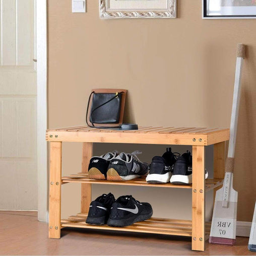 DealsDot.Com Furniture 2-Tier Bamboo Shoe Bench Entryway Storage Racks