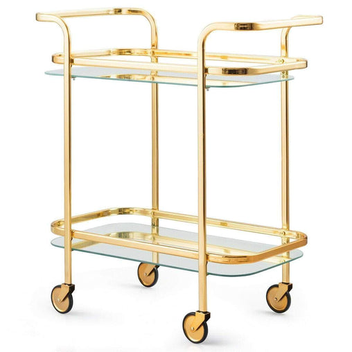 DealsDot.Com Furniture 2 Tier Metal Frame Rolling Kitchen Cart with Glass Shelves