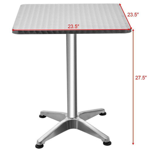 "DealsDot.Com Furniture 23 1-2"" Stainless Steel Aluminium Square Cafe Bistro Table"