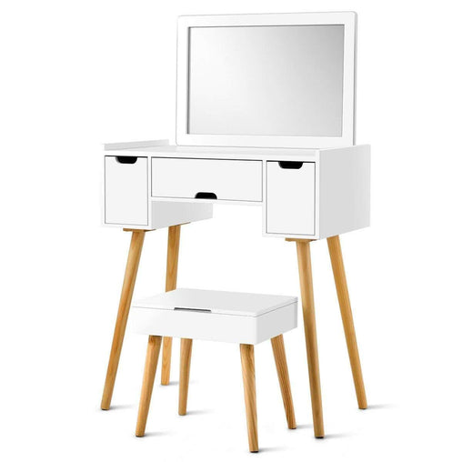 DealsDot.Com Furniture 3 Drawers Large Mirror Makeup Dressing Table & Storage Stool Set