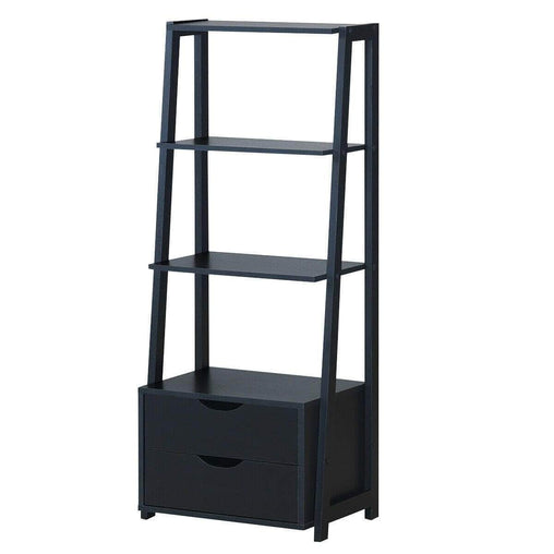 DealsDot.Com Furniture 4-Tier Ladder Bookshelf Storage Display with 2 Drawers