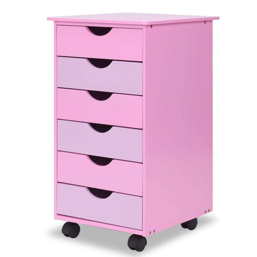 DealsDot.Com Furniture 6-Drawer Wooden Rolling Organizer Mobile File Cabinet