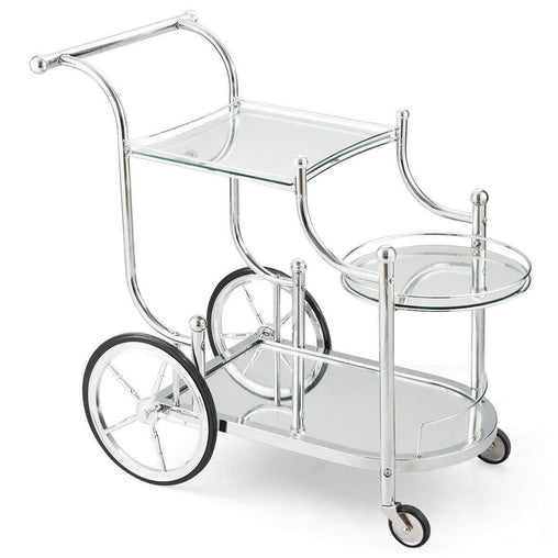 DealsDot.Com Furniture Kitchen Glass Shelves Metal Frame Serving Rolling Cart