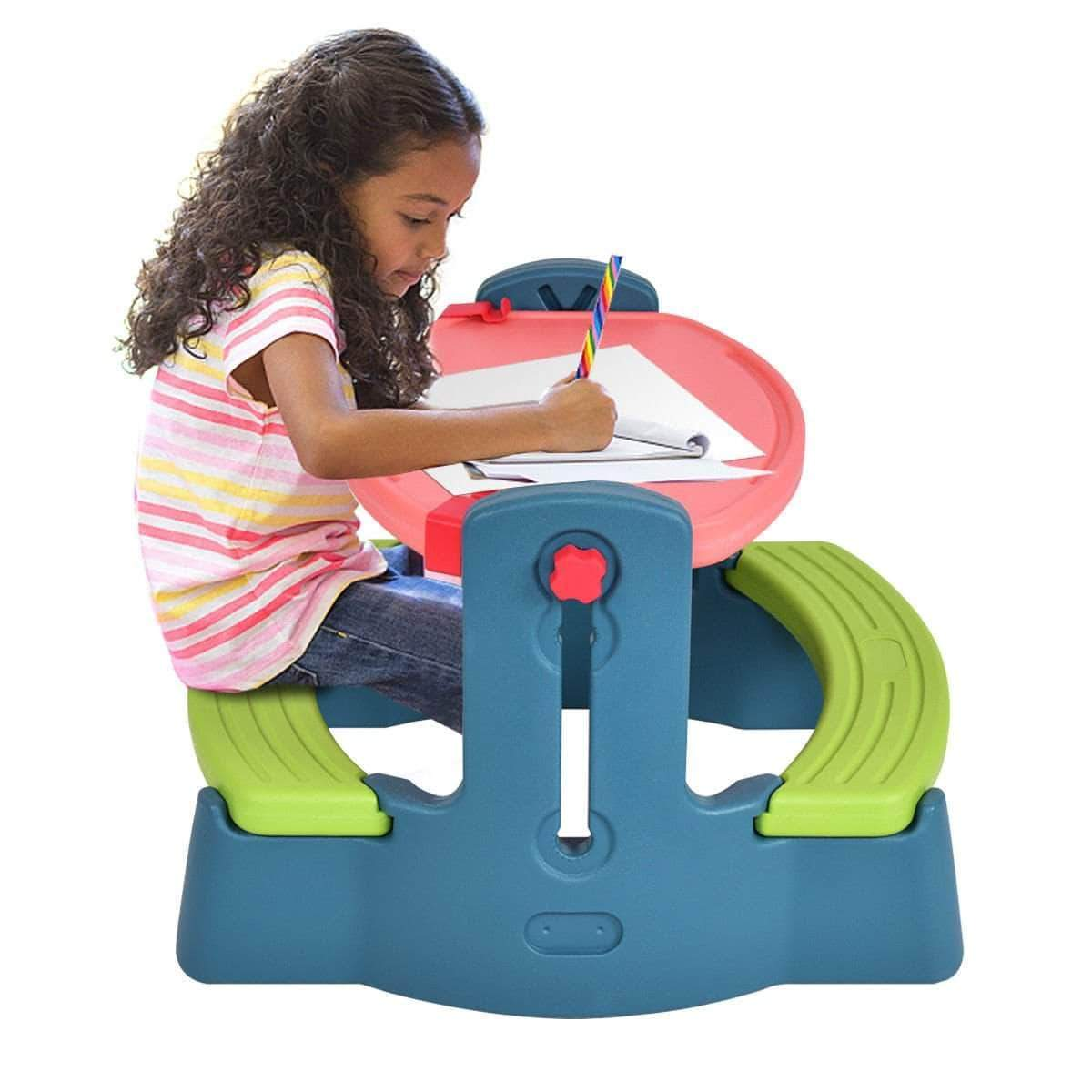 Plastic Height Adjustable 2 In 1 Children Drawing Table