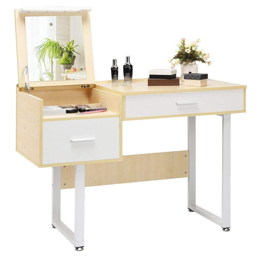 DealsDot.Com Furniture Square Mirror Makeup Dressing Table with Flip Top