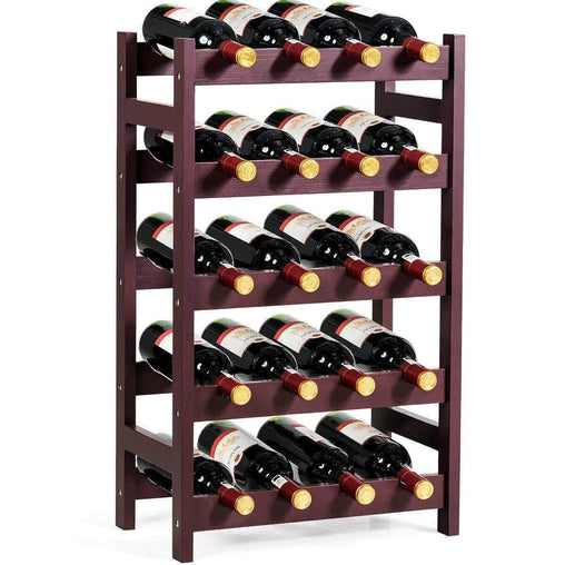 DealsDot.Com Furniture Wood Wine Rack 5-Tier Bottle Display Storage Shelf Free Standing