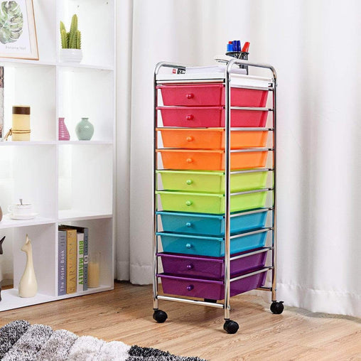 DealsDot.Com Home & Garden 10 Drawers Rolling Organizer Cart Craft Utility Mobile Trolley