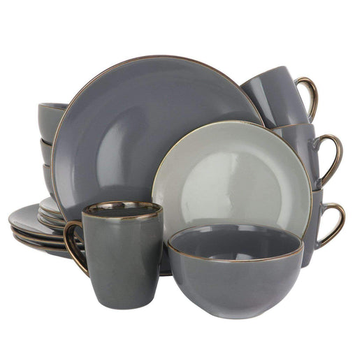 Elama Dinnerware Sets Elama Tahitian Grand 16 Piece Luxurious Stoneware Dinnerware Set in Stone and Slate with Complete Setting for 4
