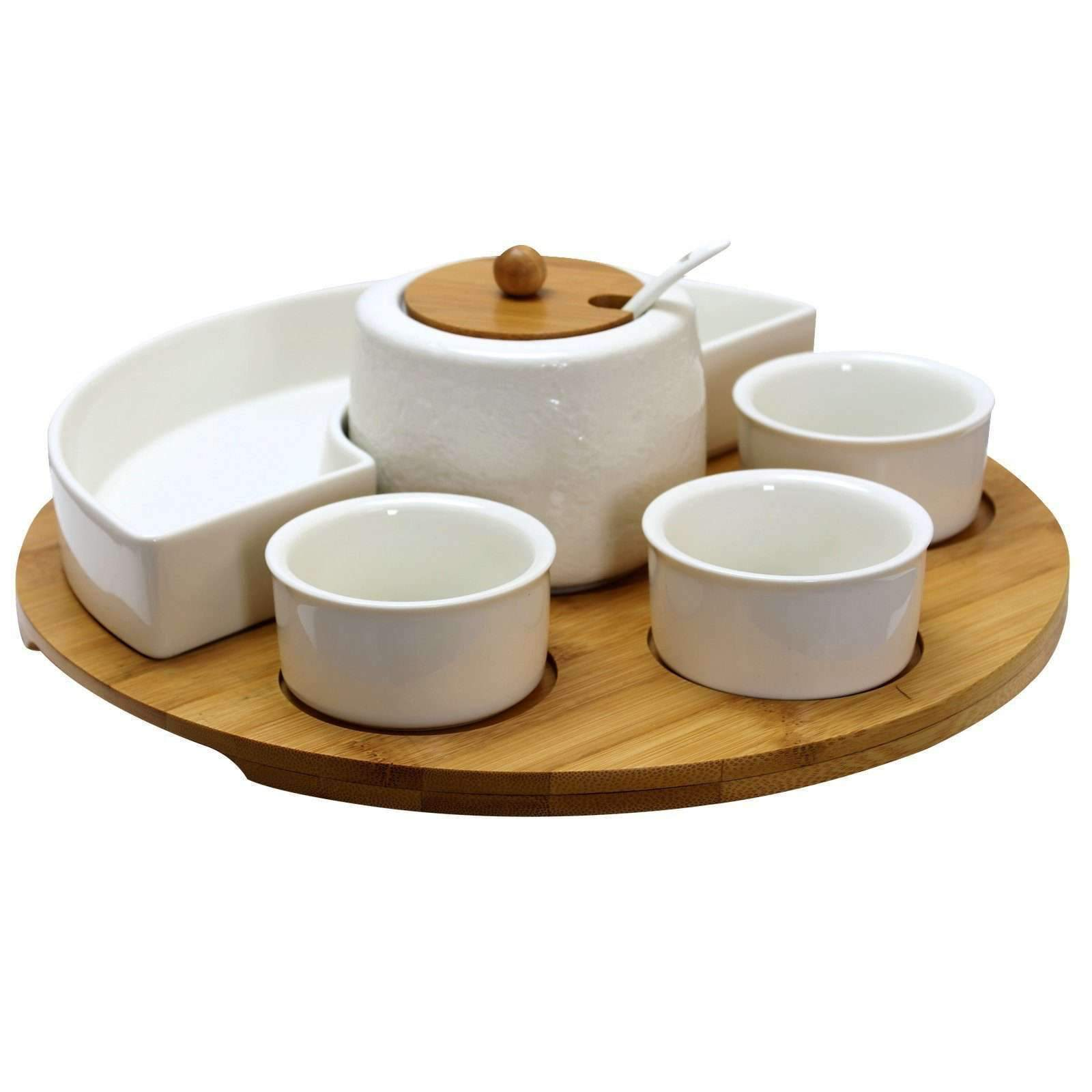 Elama Tableware Elama Signature 8 Piece Appetizer Serving Set with 4 Serving Dishes, Center Condiment Server, Spoon, and Bamboo Serving Tray