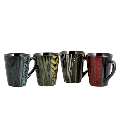 Gibson Tableware Gibson Home Ashanti Damask  4 Piece 14 oz. Mug Set in Assorted Colors
