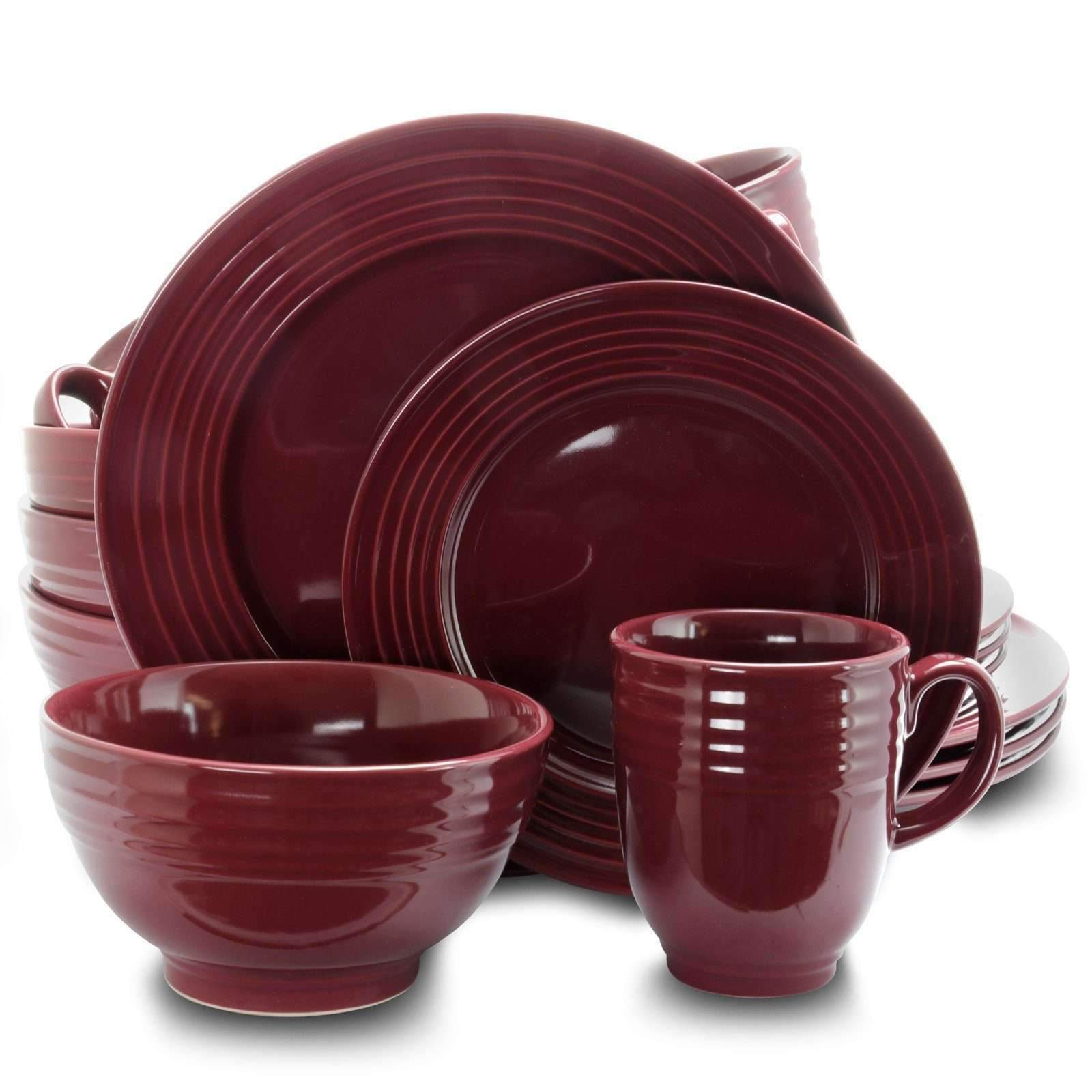 Gibson Tableware Gibson Stanza 16 pc Stoneware Dinnerware Set- Burgundy