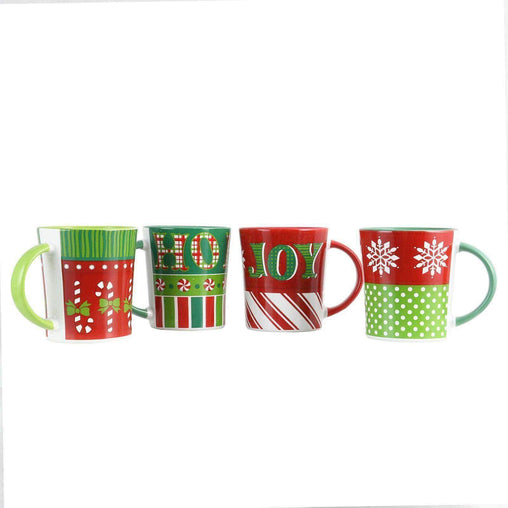 GibsonHome Tableware Gibson Home Holiday Wrap 15 oz. Assorted Funky Mug Set, Set of 4