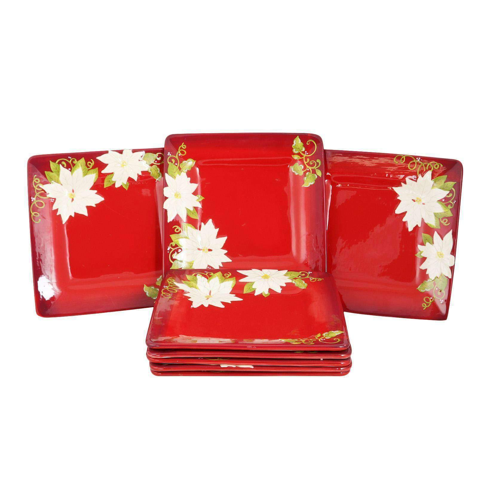 "LaurieGates Tableware Laurie Gates Pleasant Poinsettia 11.25"" Dinner Plate Set, Set of 8"