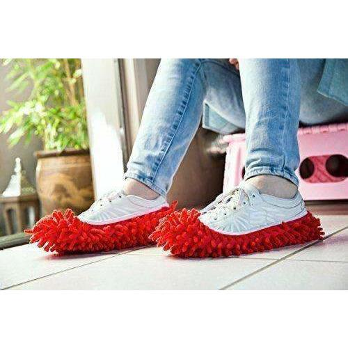 LivingTrend Everything Else Red 2pcs Multi Function Fibre Washable Dust Mop Slippers