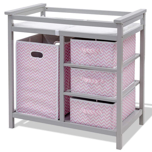 LivingTrend Furniture 2 Colors Infant Diaper Storage Changing Table w- 3 Baskets