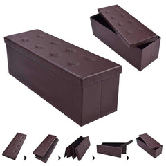 LivingTrend Furniture Large Leather Ottoman with Storage