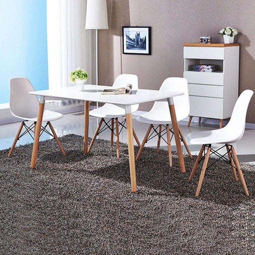 LivingTrend Furniture Modern Style Dining Chair Wood Legs  4 set