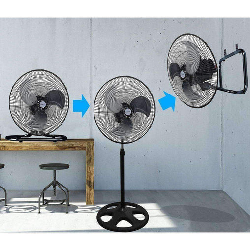 "LivingTrend Heaters and Fans 18"" Black 3 in 1 Premium Large High Velocity Industrial Floor Fan/Table Fan"