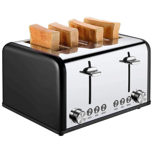 LivingTrend Kitchen Appliances 4 Slice Toaster, 1650W Extra Wide Slots Stainless Steel