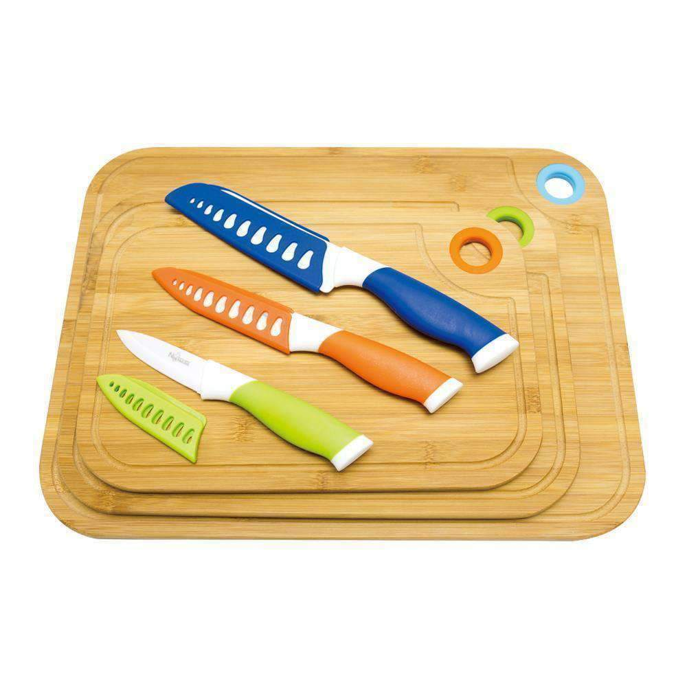 LivingTrend Kitchen Bamboo Cutting Board And Knife Set - 9 pcs