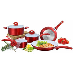 LivingTrend Kitchen Ceramic Non Stick Cookware Set 8PC, Red
