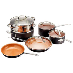 Copper 10 PC Cookware Set With Glass Lids Kitchen MareLight