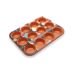 LivingTrend Kitchen Copper Bakeware 12-Cup Muffin Pan