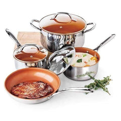 LivingTrend Kitchen Copper Ceramic Nonstick Stainless Steel Cookware Set 7PC