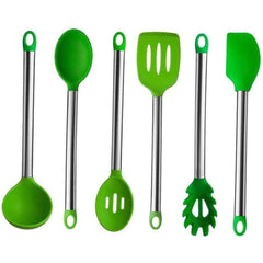 LivingTrend Kitchen Green Silicone and Stainless Steel Utensil 6 pc