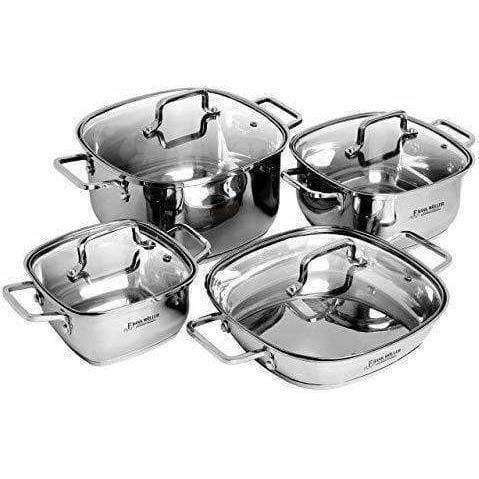 LivingTrend Kitchen Stainless Steel  8 PC Square cookware Set with Lids
