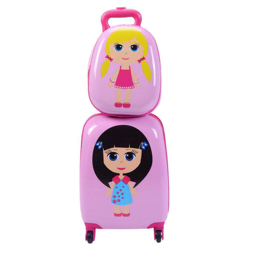 "LivingTrend Luggage & Bags 2 pcs 12"" 16"" Pink Kids Girls  Suitcase Backpack Luggage Set"