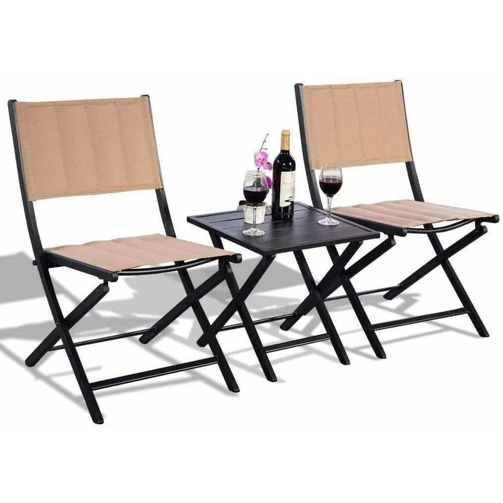 LivingTrend Outdoor & Garden Outdoor Patio Foldable Bistro Furniture Set