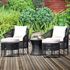 LivingTrend Outdoor & Garden Outdoor Rattan Conversation Set with Ottoman 5 pc