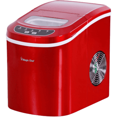 MagicChef Kitchen Appliances Ice Maker, 27 lbs/day, Portable, Red