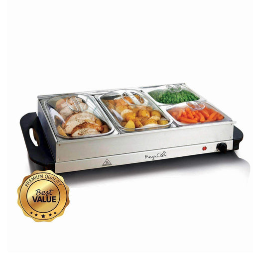 MegaChef Buffet Server & Food Warmer With 4 Removable Sectional Trays , Heated Warming Tray and Removable Tray Frame Kitchen Appliances Megachef Default Title