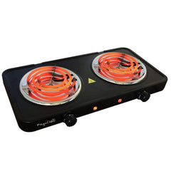 Megachef Kitchen Appliances MegaChef Electric Easily Portable Ultra Lightweight Dual Coil Burner Cooktop Buffet Range in Matte Black