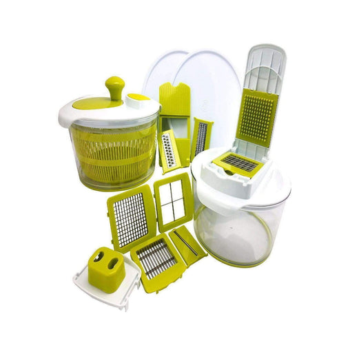 Megachef Kitchen Gadgets MegaChef 10-in-1 Multi-Use Salad Spinning Slicer, Dicer and Chopper with Interchangeable Blades and Storage Lids
